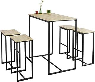 comprar comparacion SoBuy OGT15-N Set Mesa Alta de Bar y 4 Taburetes Muebles Bar Comedor ES