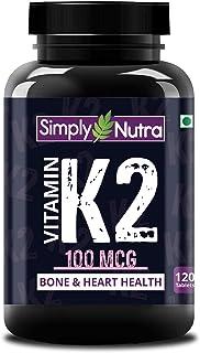 Simply Nutra Vitamin K2 MK7 100Mcg Supplement | High Potency | Bones & Heart Health | 120 Veg Tablets