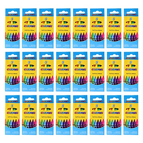 96 Pack 5 Piece Bulk Crayons - Wholesale Case School Supplies for Offices, Schools, Students, Teachers - 480 Crayons