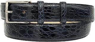 ESPERANTO Cintura uomo in vero fianco di coccodrillo, fodera vera pelle cuoio Nabuk, fibbia nichel free - altezza 4 cm