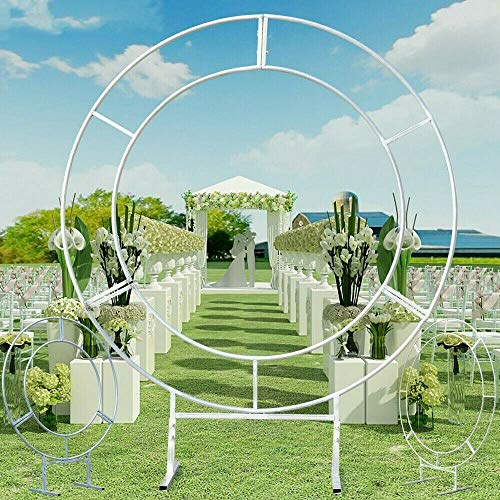 1.5M Double Tube Round Wedding Stand Silver, Circle Arch Framework Metal Round Wedding Party Backdrop Moon Outdoor Ceremony Floral Ring Balloon Reception Cerem Gate Usa Door Background Wrought Iron De