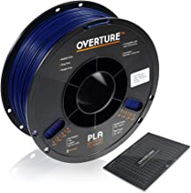 OVERTURE PLA Filament 1.75mm with 3D Build Surface 200mm × 200mm 3D Printer Consumables, 1kg Spool (2.2lbs), Dimensional Accuracy +/- 0.05 mm, Fit Most FDM Printer, Blue
