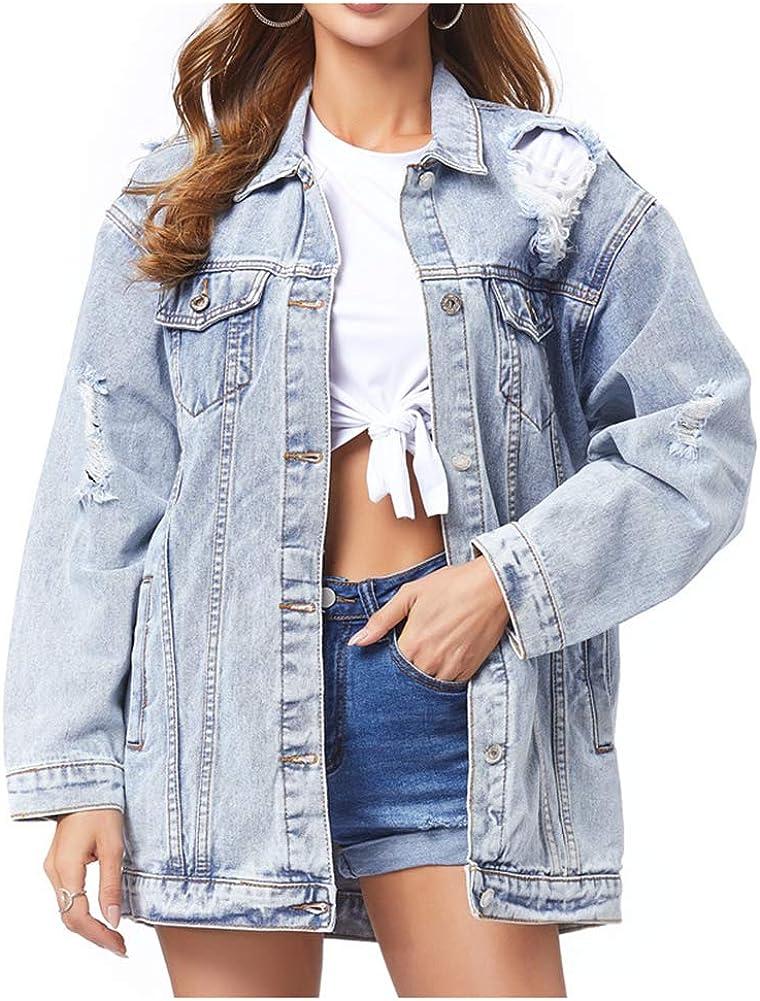 SCOFEEL Women's Long Denim Jacket Button Down Long Sleeve Distressed Ripped Jean Jacket