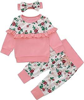 0-18 Meses,SO-buts Niño Pequeño Bebé Niñas Manga Larga Estampado Floral Volantes Sudadera Camiseta Tops Pantalones Conjunt...