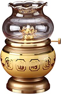 LLNN Band Glass Windproof Pure Copper Buddha Oil Lamp Tibetan Style Brass Butter Lamp Buddhist Supplies (Size : Large)