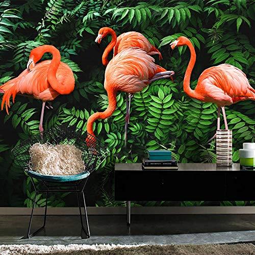 Custom 3D Fotobehang Muurschilderingen Flamingo Tropisch Regenwoud Plant Groen Blad Grote Muurschildering Woonkamer Slaapkamer TV Muurschildering-150x105 cm (59,1 bij 41,3 inch)