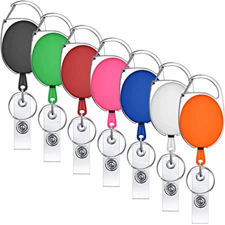 Assorted Colors 7 Pack Retractable Badge ID Card Holders with Carabiner Belt Loop Clip,ID Holder Strap