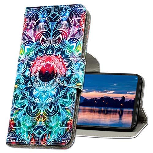 MRSTER Handyhülle für Nokia 3.2 Hülle Leder Flip Handyhülle Schutzhülle Tasche Hülle mit Kartenfach Standfunktion Magnetverschluss für Nokia 3.2. XC1 Mandala