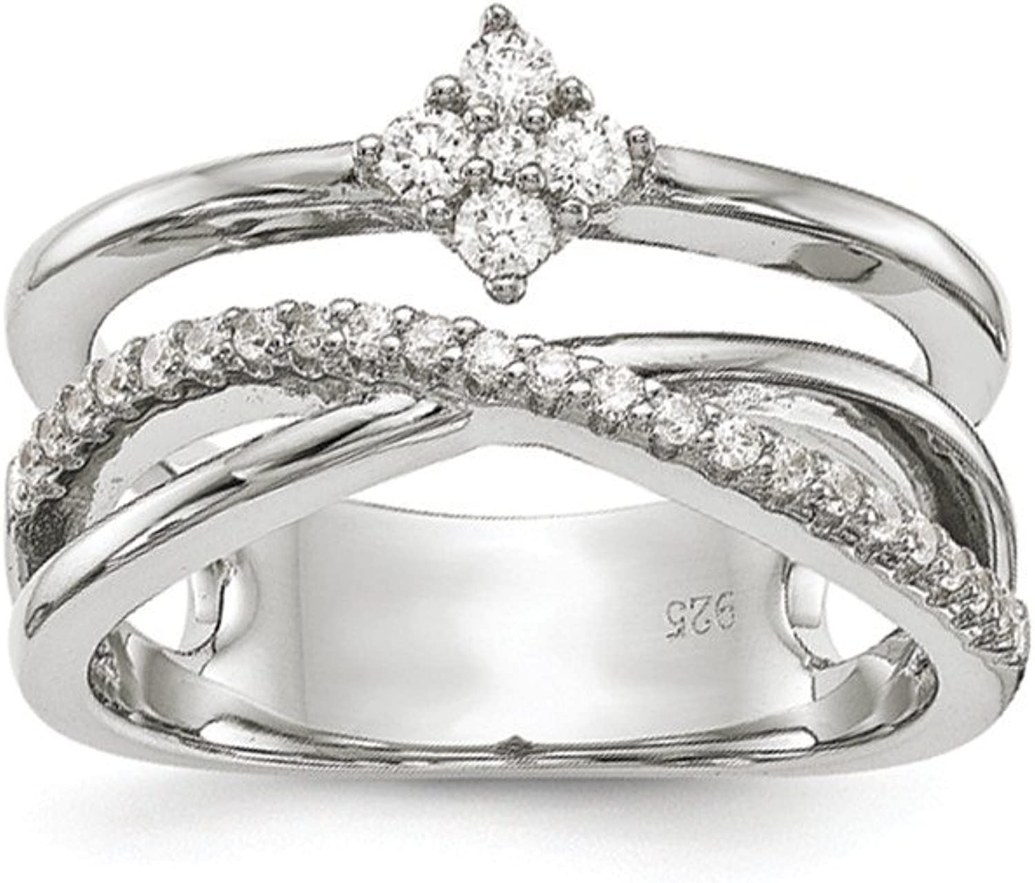 925 Sterling Silver Polished Cubic Zirconia Ring
