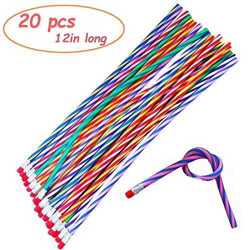 20PCS Crazy Soft Bending Pencils with Erasers,12 Inches Long Bendable Pencils,Great Bags Party Favor,Fun Classrooms Prizes Gift for Children