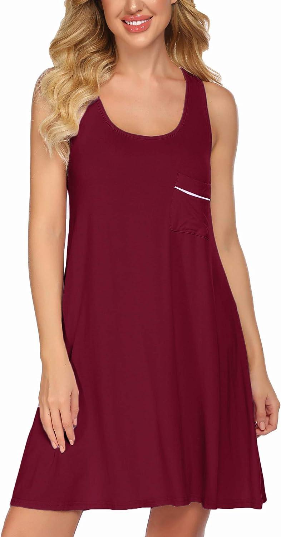 Ekouaer Sleepwear Womens Chemise Nightgown Full Slip Lounge Dress Sexy Lingerie Sleepshirt