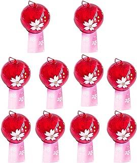 Flameer 10Pcs Wind Bell Japanese Wind Chimes Handmade Glass Wind Bells-Oriental Cherry