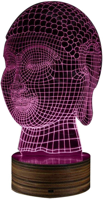 3D Budda Kopf Form Nachtlicht, Yoga Mediation Geschenk buddhistischen Beleuchtung Dekor friedliche entspannende LED-Lampe Zen Raum dekorative Stimmung Licht (Farbe   Buddhist)