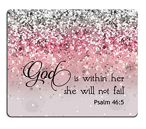 Smooffly Psalm 46:5 God is Within Her,She Will not Fall - Bible Verse Pink Sparkles Glitter Pattern Mouse pad Mousepads