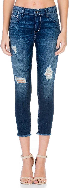 Cello Jeans Dark Denim Mid Rise Distressed Crop Skinny