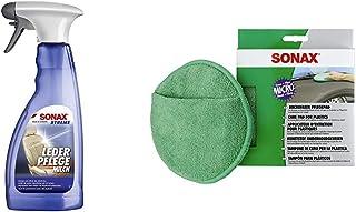 SONAX Xtreme LederPflegeMilch 500 ml Zur schonenden Reinigung & MicrofaserPflegePad 1 Stück für gleichmäßiges Auftragen von Kunststoffpflegemitteln im Innenraum