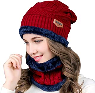 Yinuoday Women Men Reversible Winter Warm Knit Hat Ski Cap Fleece Neck Warmer Circle Loop Scarf Soft Plush Lined