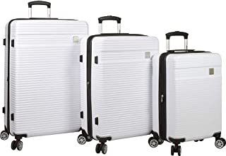 Dejuno Ashford 3-pc Hardside Spinner TSA Combination Lock Luggage Set, White, 3-Piece