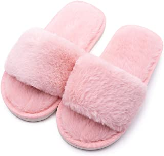 Boys Girls Fuzzy House Slippers Cute Comfy Faux Fur Slip On Fluffy Plush Open Toe Home Slides for Kids Indoor Outdoor Warm...