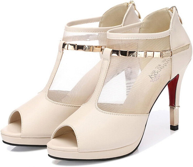 San hojas Thin Heel Net Peep Toe Platform Heeled Sandals Beige