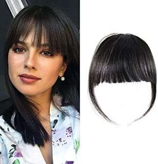 HAIQUAN Natural Real Human Hair Flat Bangs/Fringe Hand Tied Bangs Fashion Clip-in Hair Extension (Flat Bangs with Temples,...