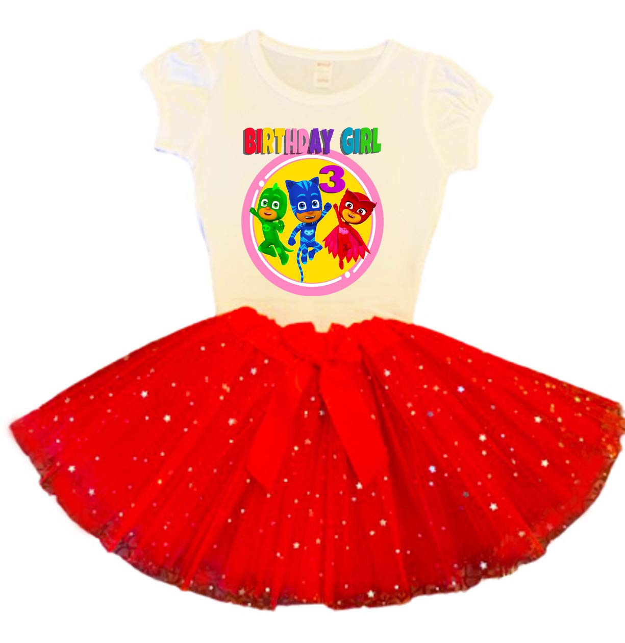 Free shipping PJ Masks Birthday Don't miss the campaign Tutu 3rd Party Outfit Dress Red