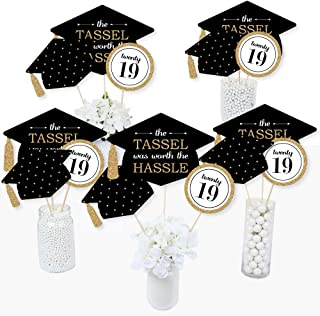 Gold - Tassel Worth The Hassle - 2019 Graduation Party Centerpiece Sticks - Table Toppers - Set of 15