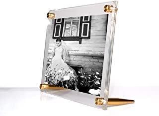 Wexel Art 7x9-Inch Diamond Polished Beveled Edge Framing Grade Acrylic Tabletop Floating Frame with Gold Hardware for 5x7-...