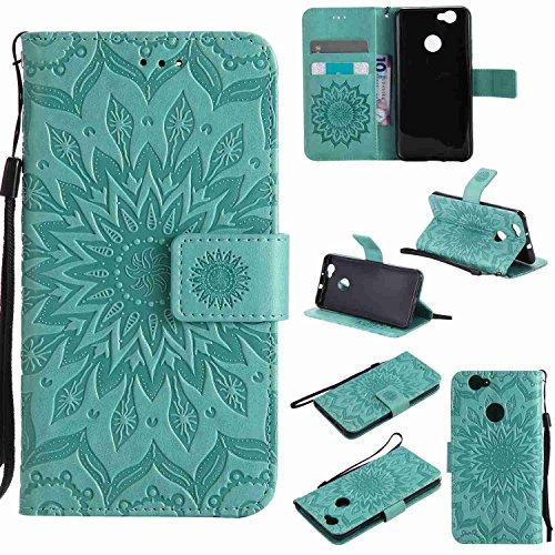 pinlu® PU Leder Tasche Etui Schutzhülle für Huawei Nova (5 Zoll) Lederhülle Schale Flip Cover Tasche mit Standfunktion Sonnenblume Muster Hülle (Grün)