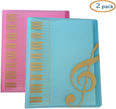 WOGOD Music Sheet File Paper Documents Storage Folder Holder Plastic.A4 Size,40 Pockets (1 Blue+1 Pink)