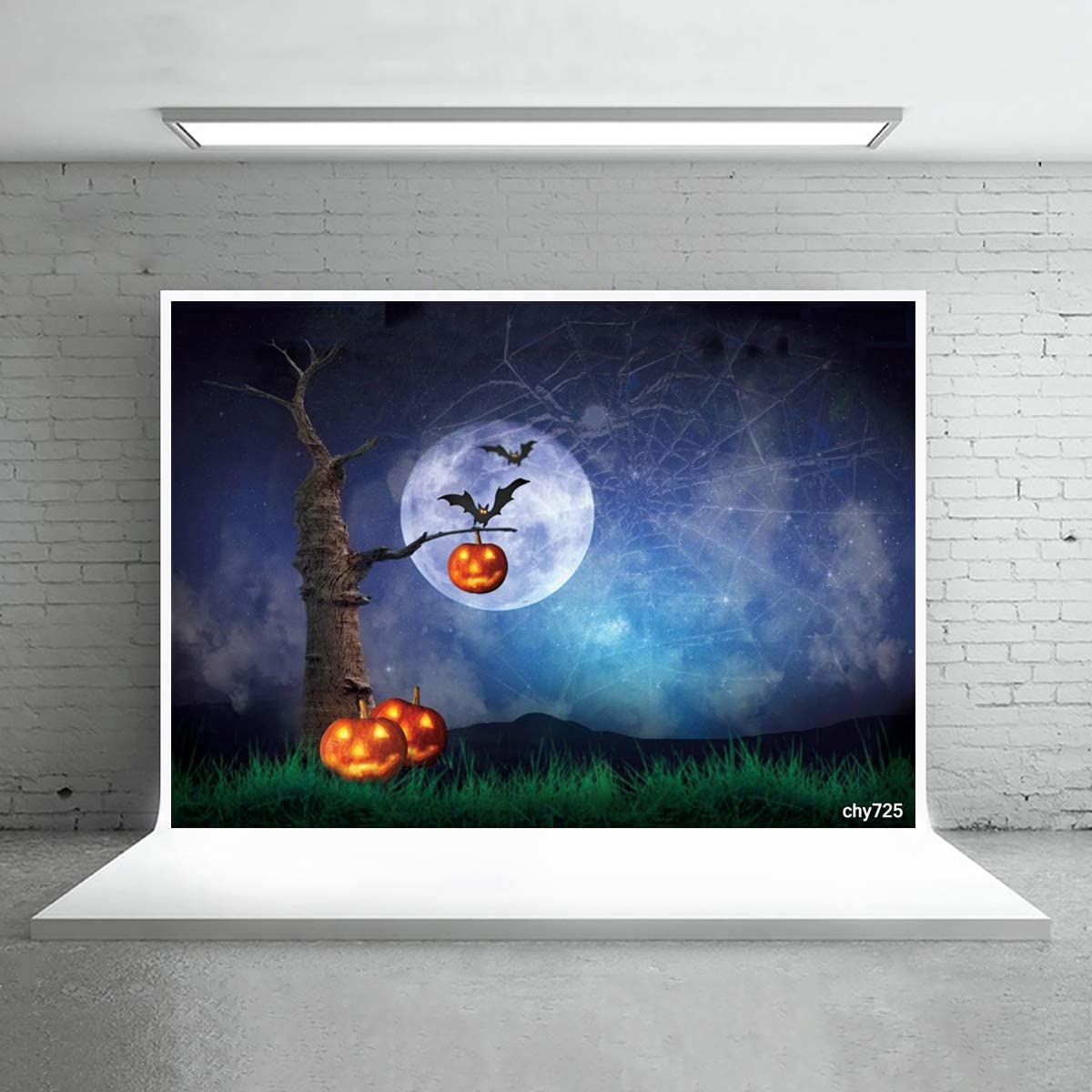 Levoo Skull Pumpkin Background Banner Photography Studio Cartoon Background Birthday Family Party Halloween Celebration Photography Backdrop Home Decoration 7x5ft,chy726