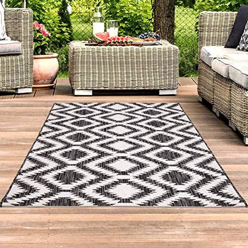 carpet city Teppich In- und Outdoor Wetterfest UV-beständig Retro-Muster Modern Schwarz-Weiß für Terrasse Balkon; Größe: 80x150 cm
