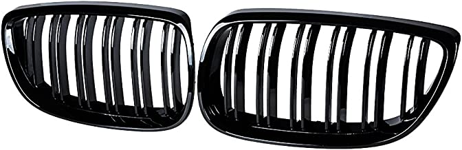 Anzios 2X M3 Look Style Glossy Black Front Upper Kidney Grill Grille Compatible with 08-13 3-Series M3(E92/E93) 07-10 E92 ...