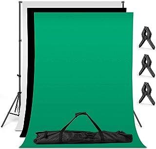 Amzdeal 写真撮影用 背景スタンドキット スタンド3m*2m 背景布 *3(白、黒、緑 2 * 1.6m) 背景スタンド セット 持ち運び便利 三脚 68-200cm 高さ調整可能 背景シートスタンド グリーンバッグ付き クリップ*3