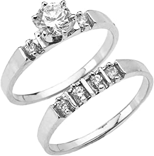 1.3 Carat Total CZ Weight 10k White Gold Elegant Engagement Wedding Ring Set