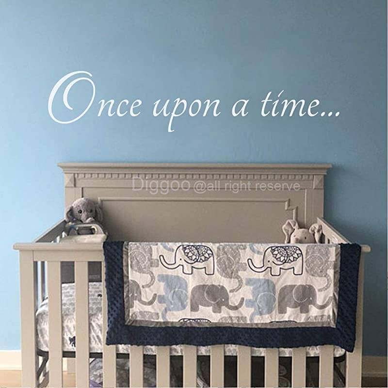 Diggoo Once Upon A Time Decal Fairytale Decal Baby Nursery Decor Girls Room Wall Decor Playroom Decor Vinyl Wall Quote White 4 6 H X 22 W