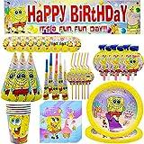 Bob Esponja Conjunto de Suministros de Fiesta - Tomicy 69 Piezas Suministros Vajilla de Cumpleaños Set Reutilizable Decoración de Fiesta con Servilletas, Tazas, Sombrero para Fiesta