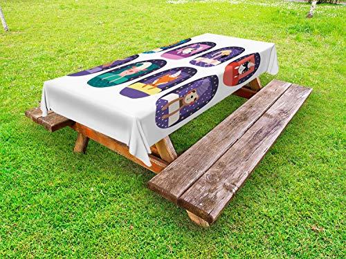 ABAKUHAUS Hond en kat Tafelkleed voor Buitengebruik, Patroon Slapen Animal, Decoratief Wasbaar Tafelkleed voor Picknicktafel, 58 x 84 cm, Dark Indigo Multicolor