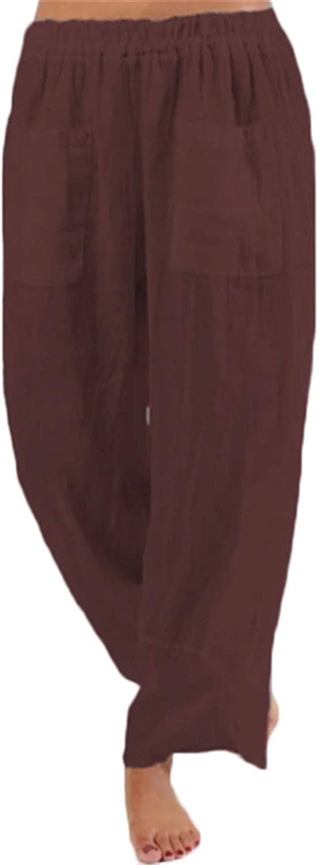 Andongnywell Women's Plus Size Casual Loose Cotton Linen Elastic Waist Wide Leg Long Palazzo Pants Trousers