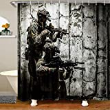 Soldier Shower Curtains For Bathroom, Boys Teens Under Mission Army Rifle Machine Gun Bath Curtain, Military Themed Waterproof Cloth Fabric Shower Curtain With 12 Hooks Suits For Bathtub 72' W x 72' L