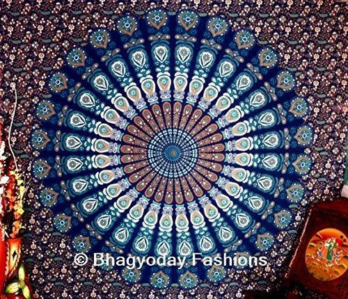 World Wide Kart indien méditation Coton Multi-cooler Mandala indien Tapisserie murale à suspendre Couvre-lit de pique-nique Drap de plage Tapis de yoga Bohème tapisseries double Couvre-lit Décor Throw Art Queen Size 85 x 85