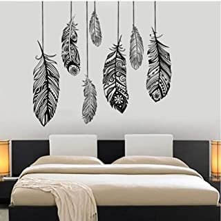 WANGJRU Wall Vinyl Decal Ethnic Love Feather Romantic Decor Bohemian Wall Sticker For Bedroom Mural Art Tribal Pattern 72x...