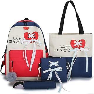 WEDFTGF - Juego de 4 bolsas de lona para la escuela, mochila y bandolera, diseño de cinta