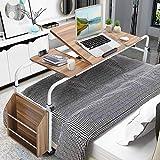 Table d'appoint pour ordinateur portable avec roulettes Table de lit Mobile Table De Lit sur roulettes Table Lit Ordinateur Overbed Table Laptop Stand Hauteur réglable 100cm à 180cm