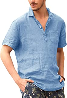 FUERI Mens Short Sleeve Shirts Linen Henley Shirts Button Down Loose Fit Summer Polo T Shirts Tops