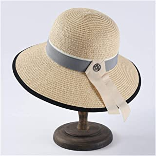 SHENTIANWEI Simple and Versatile Dome Sunhat Ladies Elegant Straw Fisherman hat M Standard Wide Sunscreen Sun hat (Color : Beige)