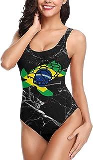 Brazil Flag Sea Turtle Women's Swimsuit One Piece Swimwear Monokini for Swimming Pool