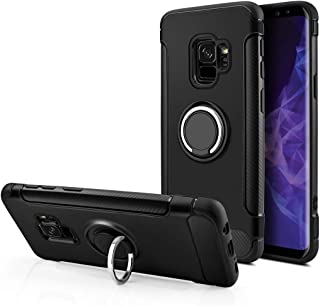 Samsung Galaxy S9 Case, Aitour Soft Silicone Case with 360° Swivel Ring Kickstand [Work with Magnetic Car Mount] Shock Absorption Durable Compatible Galaxy S9, kuh105