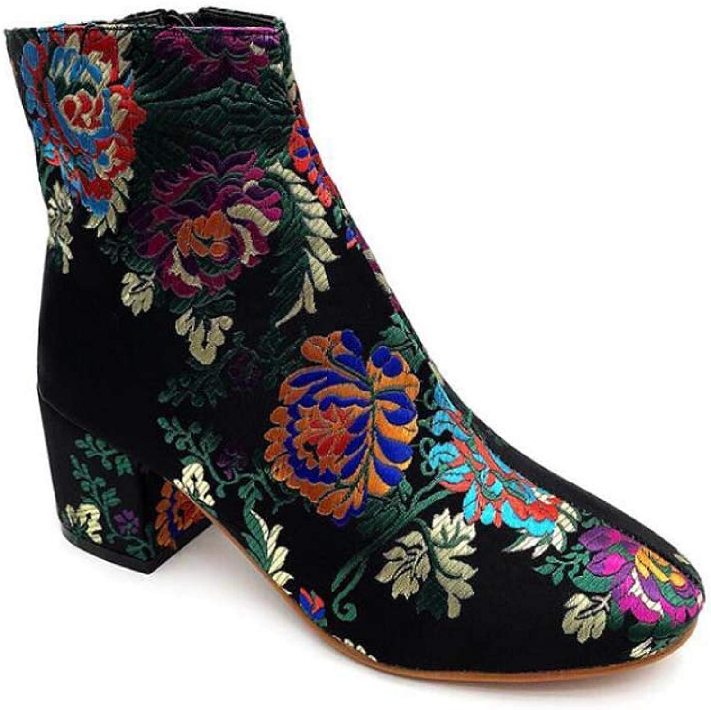 Mamrar Frauen Stickerei Knchelstiefel 6Cm Chunkly Heel Reiverschluss Farbematch Kleider Schuhe Hofschuhe EU-Gre 35-40
