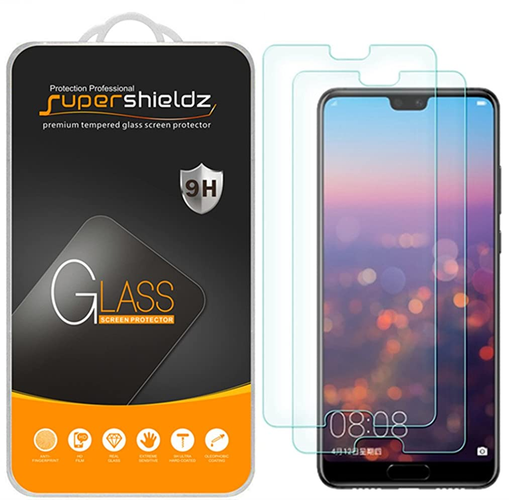 [2-Pack] Supershieldz for Huawei P20 Tempered Glass Screen Protector, Anti-Scratch, Bubble Free, Lifetime Replacement